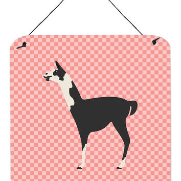 Llama Q' Ara Pink Check Wall or Door Hanging Prints BB7918DS66