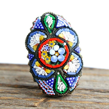 Antique Micro Mosaic Flower Brooch Pin - Vintage 1910s Italian Glass Floral Costume Jewelry / Art Nouveau Edwardian