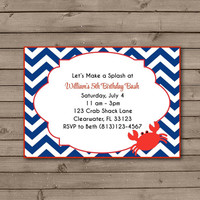 Chevron Crab Birthday Party Invitations