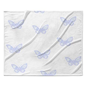 "Jennifer Rizzo ""Many Lavender Butterflies "" Purple White Fleece Throw Blanket"