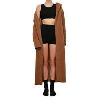 Brown Wool Oversized Floor Coat