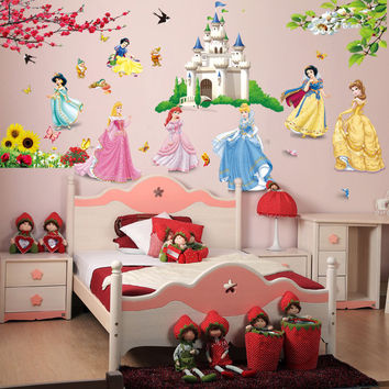 lovely cartoon castle princess girls room decor wall stickers for kid room gifts nursery room decor baby bedroom decals