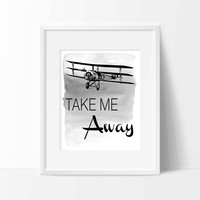 Take Me Away Watercolor Ombre Art Print - Airplane Art - Aviation Decor- Home Decor - Office Decor - Wall Art