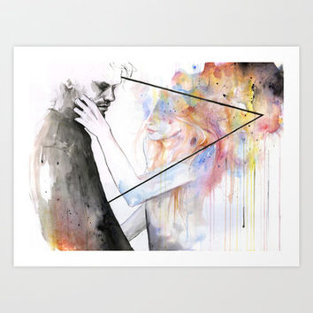 two different lights Art Print by Agnes-cecile