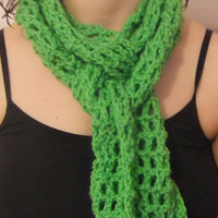 Crochet Scarf Bright Spring Green - St. Patrick's Day or Spring