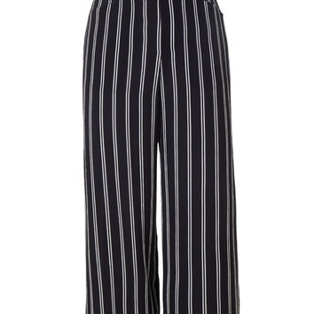 LE3NO Womens Chiffon Wide Leg Culottes Palazzo Pants with Elastic Waist