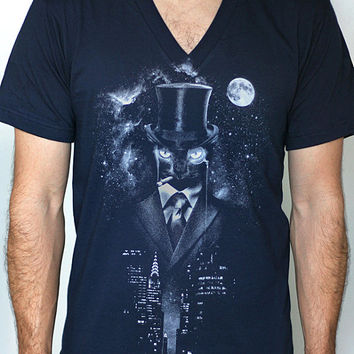 Night Watch - American Apparel Mens / Unisex V- Neck T shirt ( Space, Galaxy, Cat print clothing, Surreal t shirt )