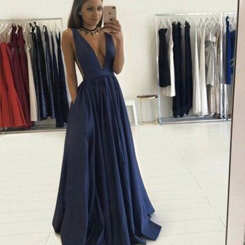 Navy Blue Open Back Long Prom Dress