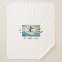 TOP Surfing Poetry in Ocean Sherpa Blanket