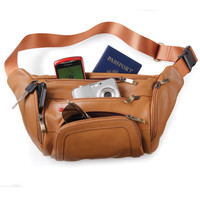 The Organized Traveler's Leather Hip Pouch - Hammacher Schlemmer