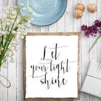 Let Your Light Shine Print Calligraphy Home Office Sign Wall Art Gallery Wall Decor Inspirational Quote Print Sparkle Sparkle Print Poster