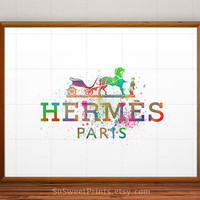 Hermes poster, Hermes Watercolor, Hermes Paris, Hermes Watercolour, Hermes decor, Hermes Illustration, home decor, 5x7, 8x10, 16x20,