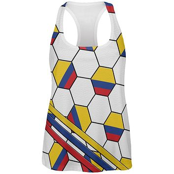 World Cup Colombia Soccer Ball All Over Womens Work Out Tank Top