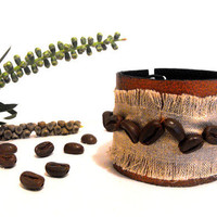 Coffee bean linen and leather bracelet Leather by julishland