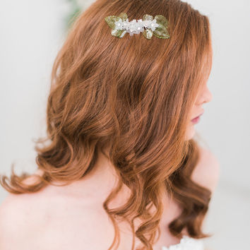 Floral hair comb, green, flower headpiece - Style 3004