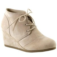 lace up wedged bootie