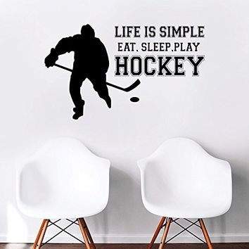 Hockey Wall Sticker, hockey sticker for Helmet,puck wall sticker,hockey decal for boys,kids sticker,cars sticker,laptop sticker kau 224