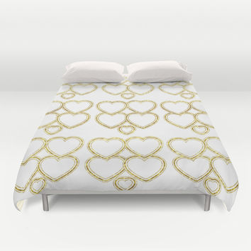 Golden hearts Duvet Cover by VanessaGF