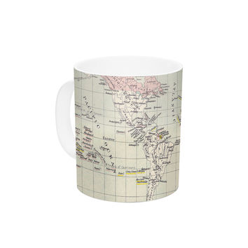 "Catherine Holcombe ""Travel"" World Map Ceramic Coffee Mug"
