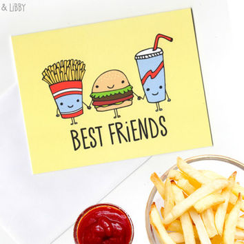 Fast Food Best Friends greeting card with Envelope blank inside