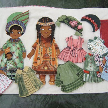 Paper Dolls African And Native American Fabric by bungalowquilts