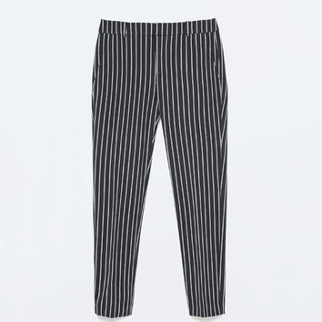 Striped narrow trousers