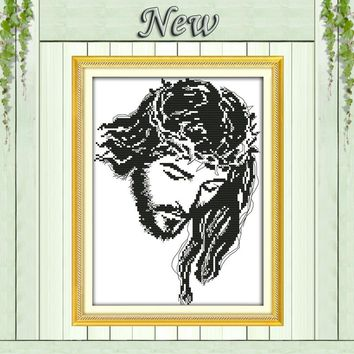 Jesus meditation,11CT Counted printed on Canvas DMC 14CT Cross Stitch Embroidery kit,Needlework Set,DIY crafts House wall Decor