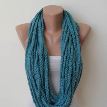 Mother's Day - Chain Necklace Scarf  - Wool Crochet Knit Scarf - Blue -Infinity - Circle - Circular - Cowl by Umbrella Design