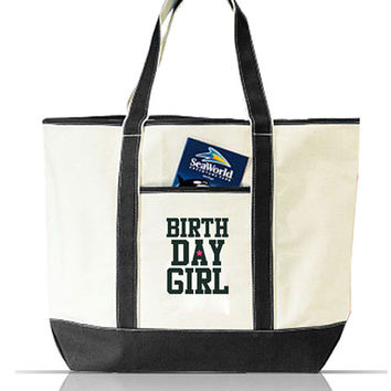 Birthday Girl Large Canvas Tote Bag, Beach Tote, Diaper Tote, Gym Tote, School Bag, Book Bag, Birthday Gift for Her, Birthday Gift Ideas