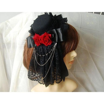 Gothic Lolita Headdress Retro Mini Top Hat with Lace & Flower Rose Chain Steampunk Hair Clip Accessories