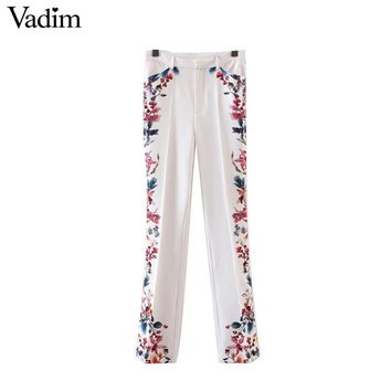 Vadim women sweet flower print flare pants ladies new fashion loose trousers casual full length pants pantalones KZ922