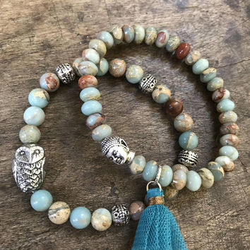 Boho Owl Bracelet, Silver Boho Jewelry, Gemstone Beaded Bracelet, Bohemian Jewelry, Stacking Bracelet, Handmade Jewelry, Two Silver Sisters