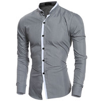 2016 Fashion Mandarin collar Solid Mens Dress Shirts Long sleeve Slim Fit Casual Social Camisas Masculinas for Man Chemise homme