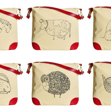 Smiling Farm Animals  Beige Printed Canvas Leather Trap Tote Shoulder Bag WAS_33