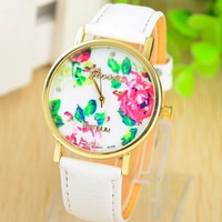 Fashion Leather GENEVA Rose Flower Watch Women Dress Watch orologio da polso = 1932419140