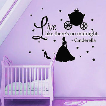 Cinderella Quote Wall Decals Princess Shoes Decal Nursery Girl Room Decor MR357
