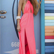 Pink Tie String Halterneck Backless Maxi Dress