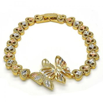 Gold Layered Fancy Bracelet, Butterfly and Heart Design, Tri Tone