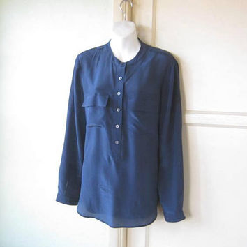 Gorgeous Dark Blue Silk Long-Sleeve Blouse; Women's Medium Tunic-Length High Round Collar Top; Career/Social Blouse; U.S. Shipping Included