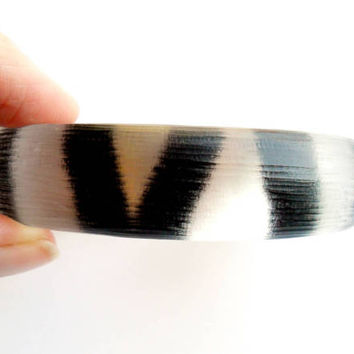 Vintage Alexis Bittar Bangle Bracelet Zebra Stripe Hand Carved Lucite Designer Fashion Clear Black Gold Chunky Bold Animal Print