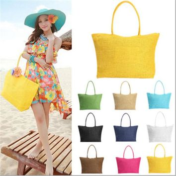 2017 Hot New Design Straw Popular Summer Style Weave Woven Shoulder Tote Shopping Beach Bag Purse Handbag Gift FreeShipping N770