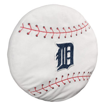 "Tigers  15""""x15""""x2"""" Embroidered Baseball-Shaped Plush Pillow with Applique"