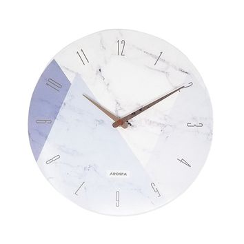 """12"""" White Marble with Triangles Wall Clock"""