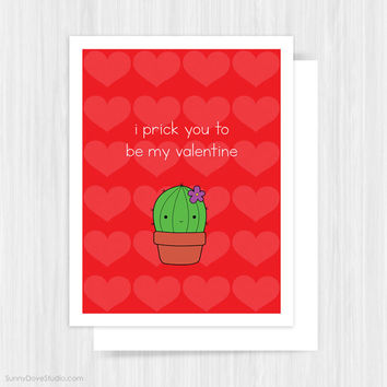 Funny Valentine Card For Boyfriend Girlfriend Husband Wife Valentines Day Cactus Love Pun Handmade Greeting Cards Gifts Gift Idea Him Her