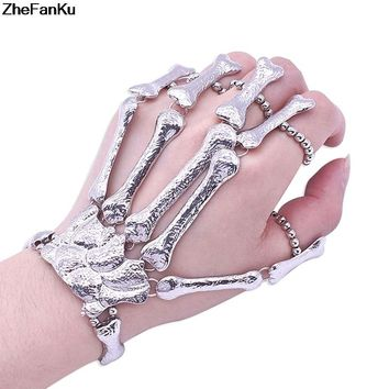 Nightclub Gothic Punk Skull Finger Bracelets for Women Skeleton Bone Hand Bracelets Bangles 2018 Christmas Halloween Gift