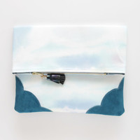KELLY 13  / Dyed cotton & Natural leather folded clutch bag - Ready to Ship