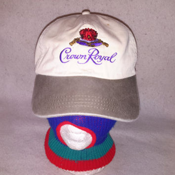 Vintage Crown Royal strapback hat cap beer Retro Alcohol liqour bourbon Cognac flaw