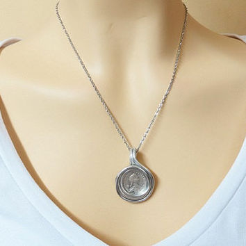 Jewelry Coins, Coin Pendant, Silver Coins Necklace, Men Coin Pendant, Women Coin Pendant, Wire Wrapped Jewelry, Gift For Him, Men Pendant,