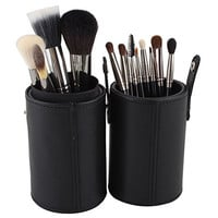 DE'LANCI 13 Pcs Professional Makeup Brush Set Cosmetic Foundation Blending Brushes Tools Kit with Cylinder Brush Cup Holder Leather Case (Black)