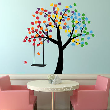 Rainbow Tree Decal Sticker - Spring, Summer, Fall, Winter, Swing, kids, children, inspiration, colorful, branches, wall stickers, multicolor